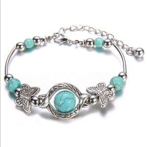 Jewelry - Natural Turquoise Carved Butterfly Bracelet